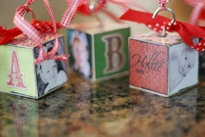 Homemade Block Ornaments