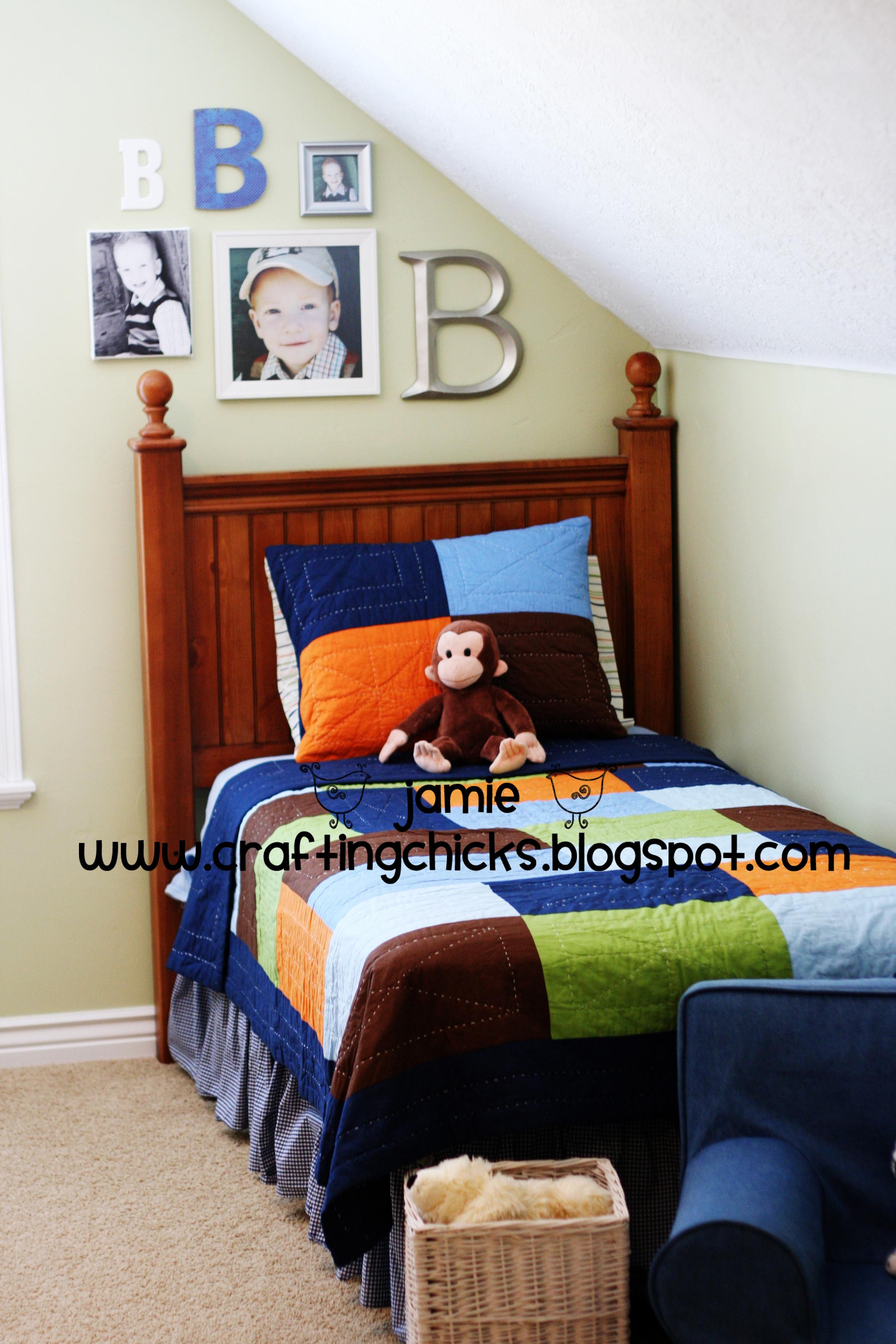 Diy kid room decor monogram photo wall the crafting chicks for Diy boys bedroom ideas