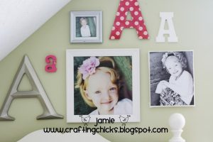 kids decor monogram photo wall girl