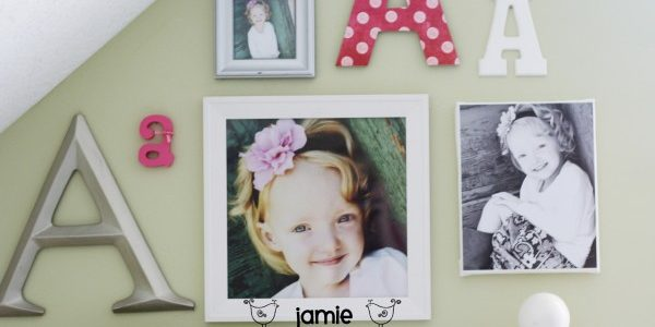 DIY Kid Room Decor-Monogram Photo Wall