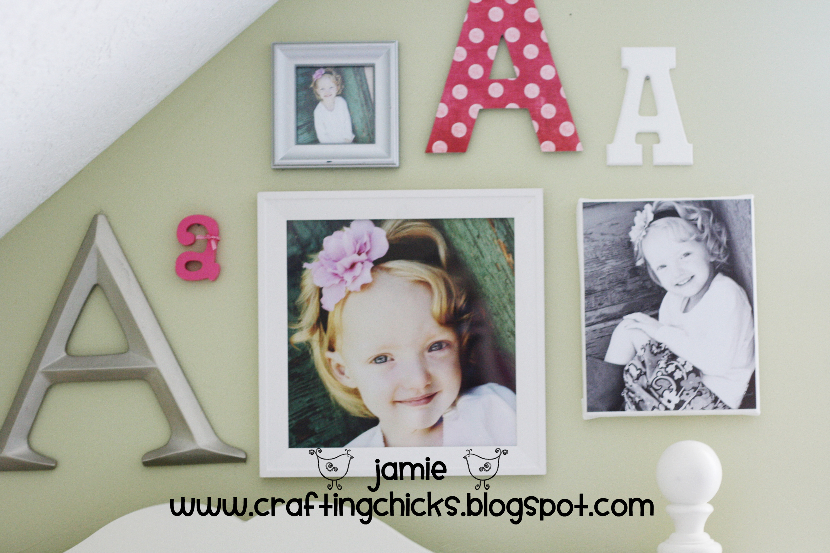 Diy kid room decor monogram photo wall the crafting chicks for Kids room wall decor