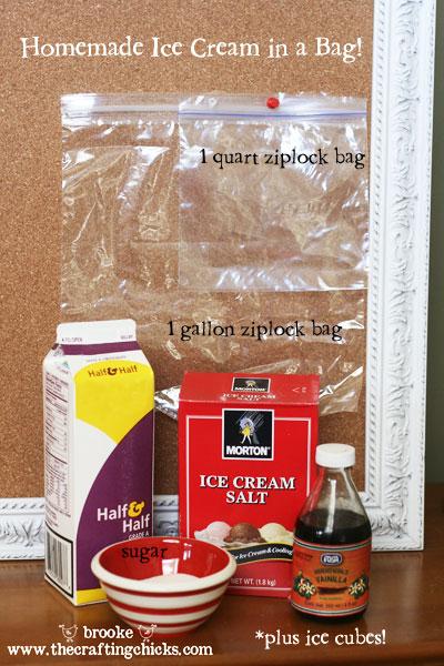 ingredients for homemade ice cream with morton ice cream salt