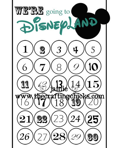 image relating to Disney Countdown Calendar Printable referred to as Free of charge Disneyland Template - The Producing Chicks