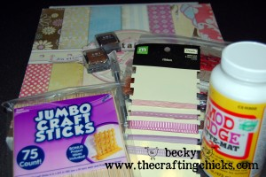 Supplies needed to make bookmarks