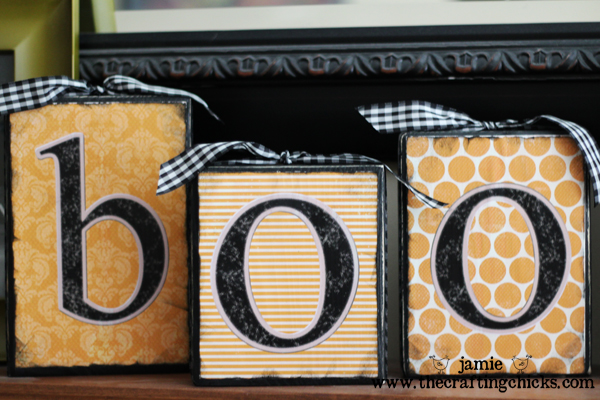 """DIY Halloween """"BOO"""" Blocks"""
