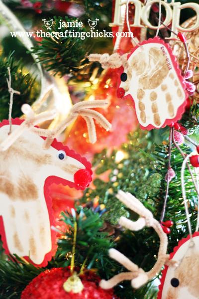 DIY Reindeer Hand Print Ornaments - The Crafting Chicks  Reindeer Handprint Ornament