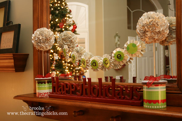 Mini Christmas Topiaries + Mini Banner {using old book pages ...