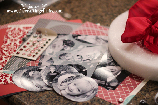 Black and white photos cut into circles with red and white scrapbook paper in the background.