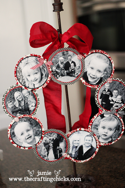 Black and white photos mounted on red and white scrapbook paper and made into a wreath, huge from a wreath holder.