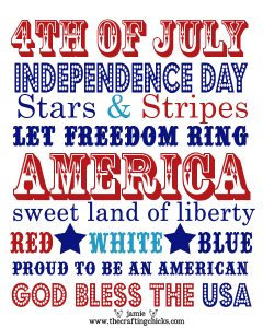 small 16 x 20 independence day word art