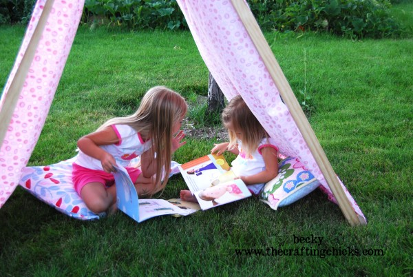 Girls in summer tent