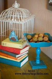 Bright Teal Pedestal Bowl
