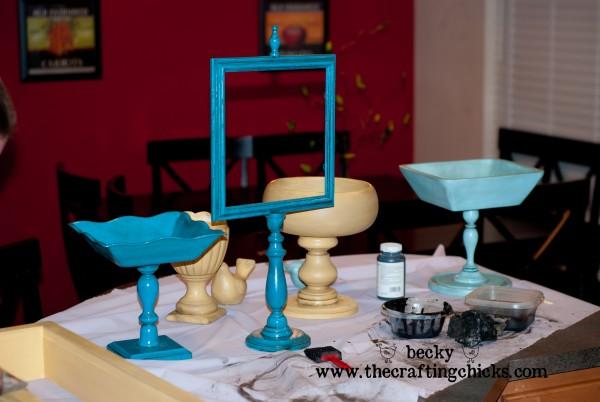 Pedestal Bowls Painted