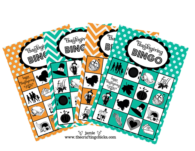 Thanksgiving Bingo free printable image of 4 bingo cards