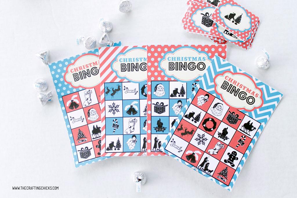 Free Printable Christmas Bingo Game set with Hershey Kisses.