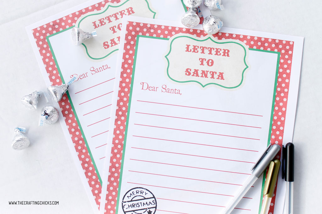 Free Printable Letters to Santa with pens and Hershey Kisses.