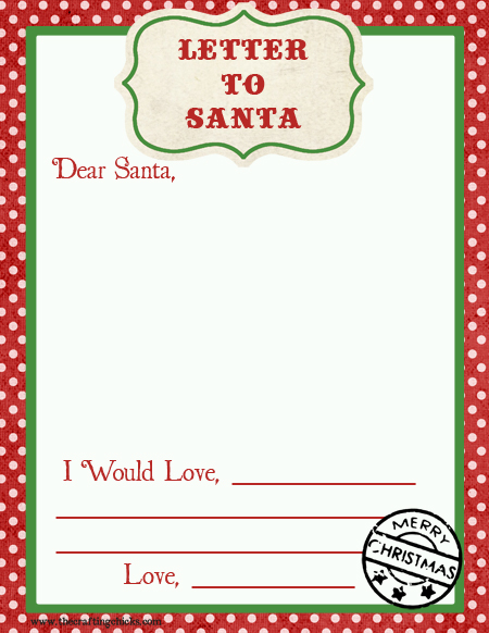 Letter to Santa Free Printable Download}
