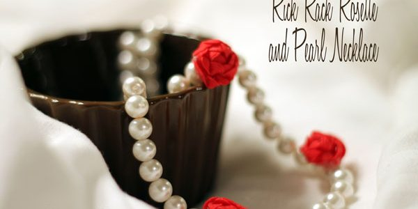 Rick Rack Rosette and Pearl Necklace