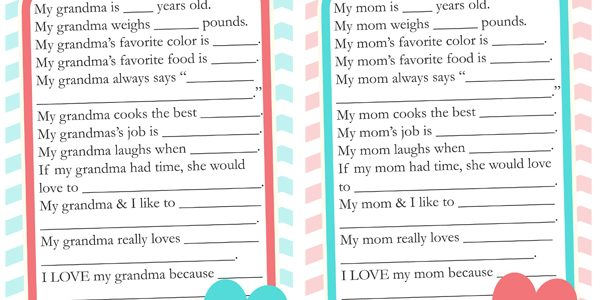 Mother's Day Questionnaire & Free Printable Download