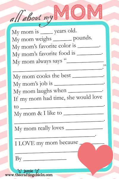 Mother's Day Questionnaire –click here then right click to save to ...