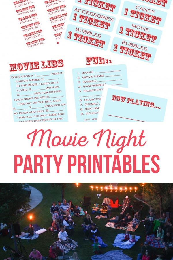Popcorn & A Movie Night Party Printables | Enjoy a fun movie night with your family and friends.  Use these free printables to make it an evening to remember!  #movienight #summer #outdoor #movie #popcorn #family #neighbor #backyard