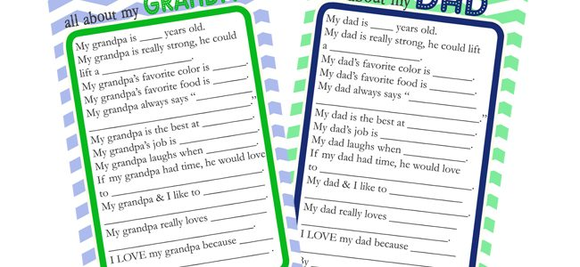 Father's Day Questionnaire & Free Printable