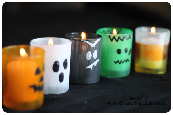 万圣节玻璃蜡烛 - 万圣节工艺创意