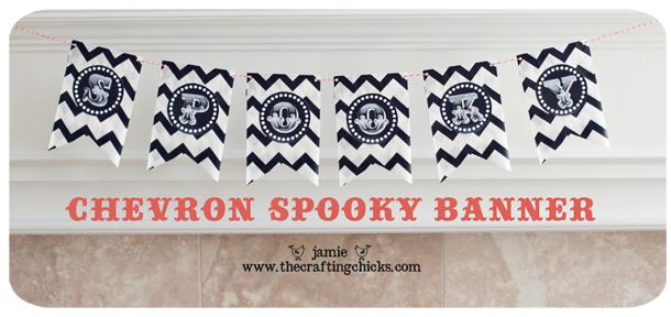{Chevron Spooky Banner-Silhouette Printable Sticker Paper}