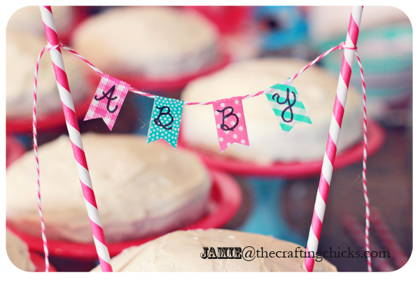 DIY Mini Cake Stands and Washi Tape Mini Cake Banners - Paris Bakeshop Birthday Party