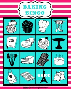 sm baking bingo card