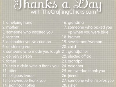 Thanks a Day Gratitude Challenge:: Welcome Back Down This Road Designs