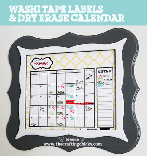 Washit Tape Labels and Dry Erase Calendar