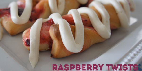 Raspberry Twists with Cream Cheese Frosting