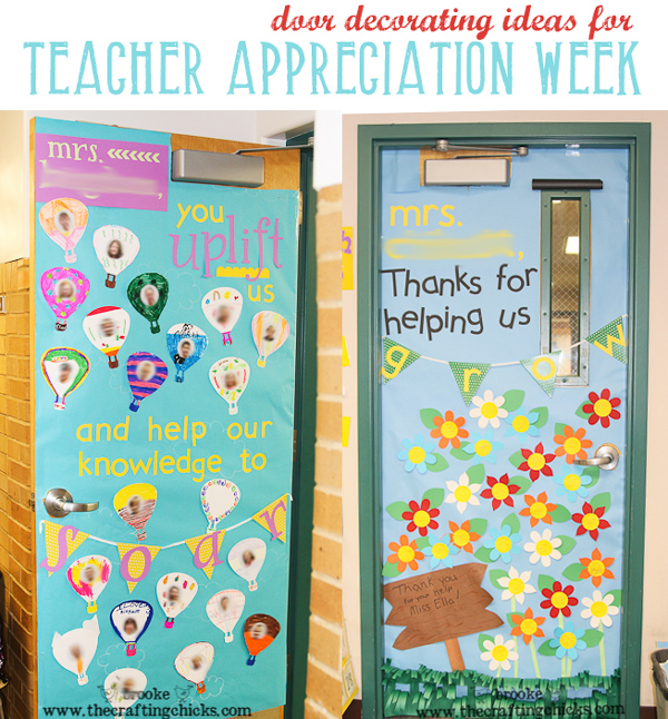 "door decorating ideas for teacher appreciation week ""You uplift us and help our knowledge to soar"" and ""thanks for helping us grow"""