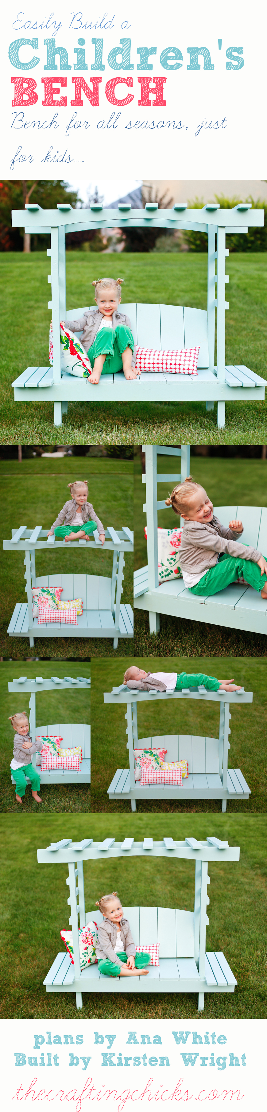 DIY Children's Arbor Bench | A fun project that will provide hours of fun in your backyard this summer!
