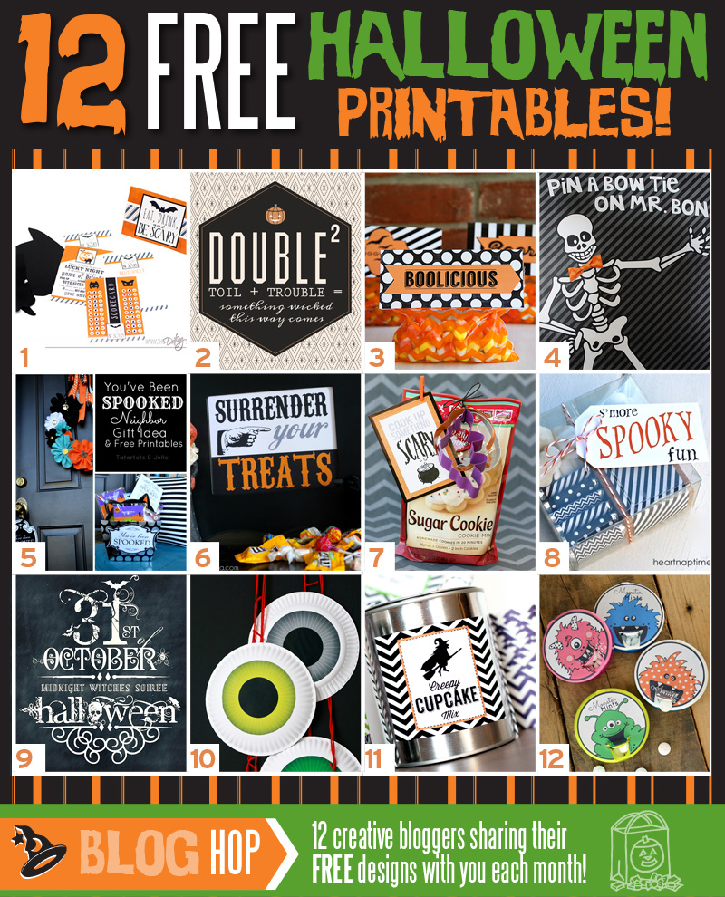 Pin the Bow Tie on Mr. Bones and 11 more Halloween Printables
