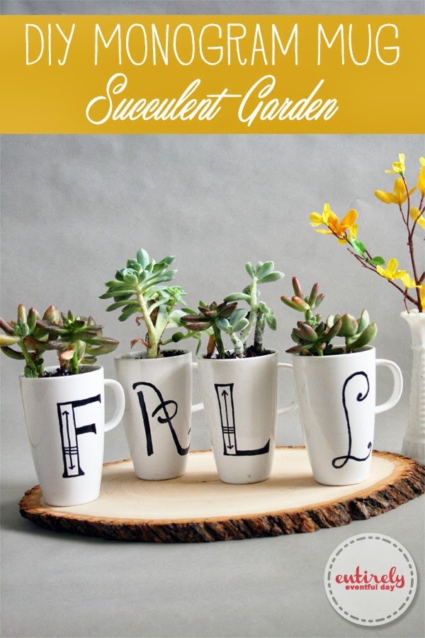 Monogram Mug Succulent Garden