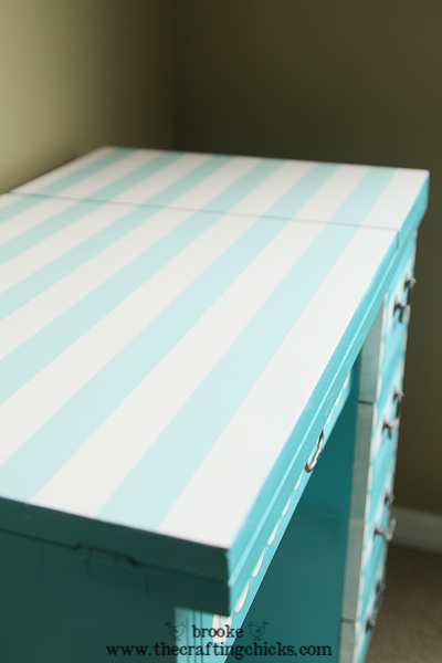 stripe top sewing table