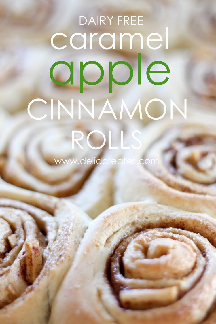 Caramel Apple Cinnamon Rolls (Dairy Free) take a traditional cinnamon roll recipe and made it vegan, or dairy free AND I made it yummier.