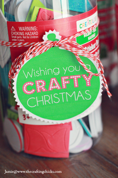 "Wishing You a ""CRAFTY"" Christmas Gift Tag Free Printable. Use these tags to give a fun gift to a crafty friend!"