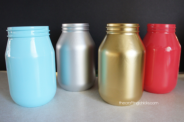 Spray Painted Jars