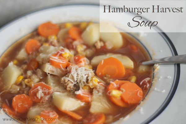 Hamburger Harvest soup with potatoes and carrots.