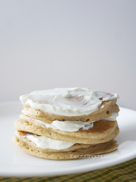 Whole wheat pancakes with sour cream
