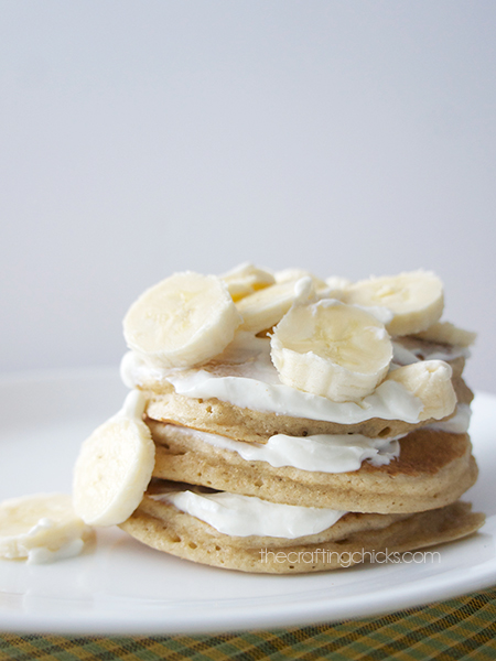 Sour cream banana pancakes