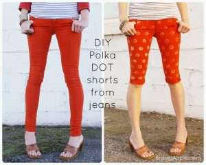 DIY polka dot shorts from jeans refashion