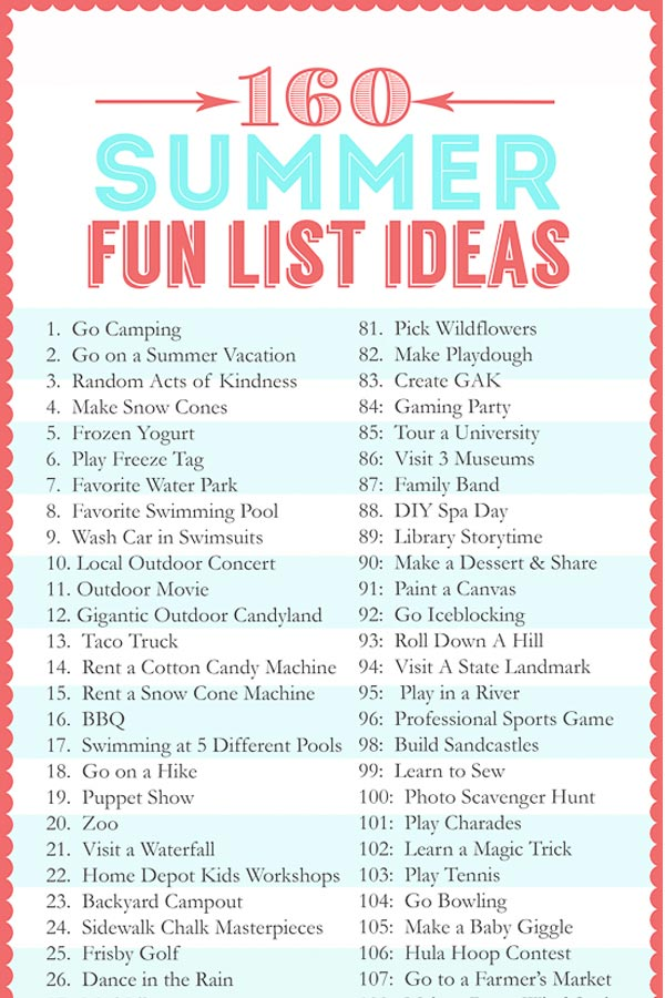 Summer Fun List of 160 ideas of activities to do with or without the kids this summer! Ideas range from FREE to just a little bit of spending money. Something for everyone on this list!