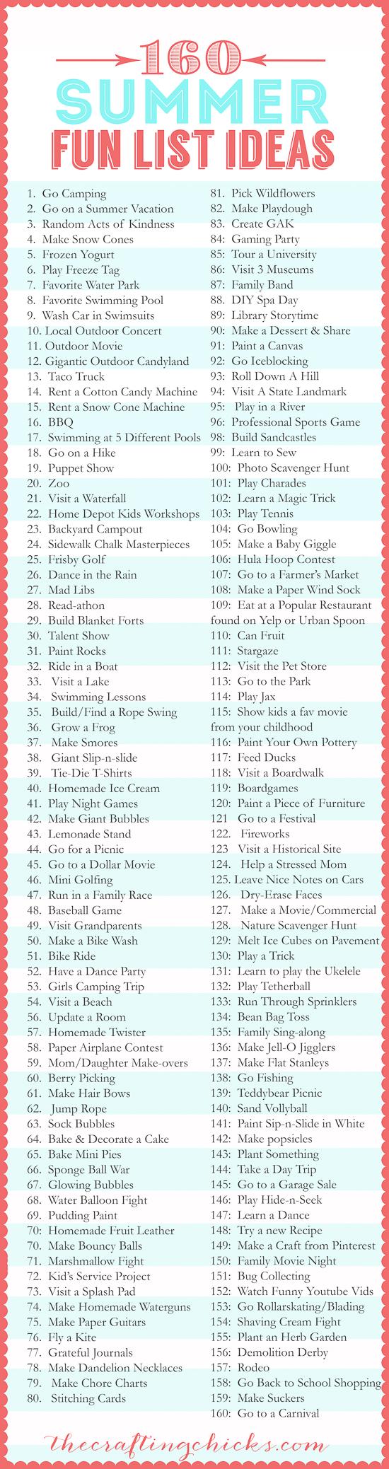 160 summer fun list ideas the crafting chicks