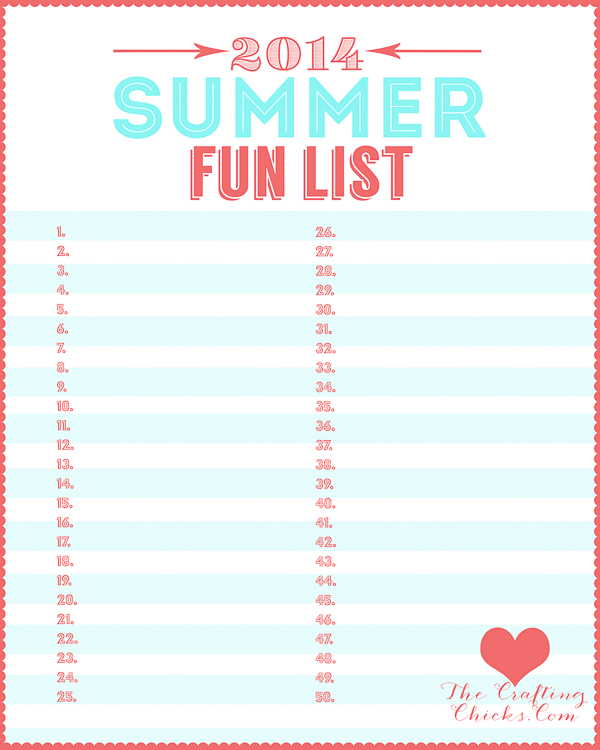 Summer Fun List PrintableAQUA