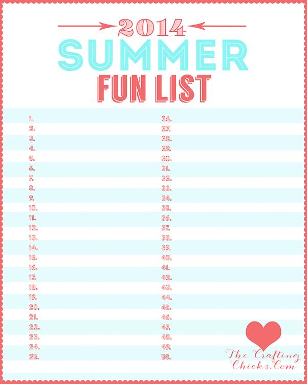 Summer Fun List PrintableAQUA