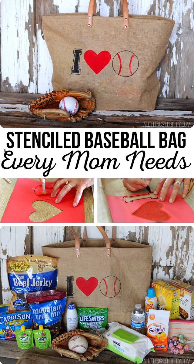 Stenciled Baseball Bag